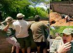 شاهد : تمساح يهاجم مذيع تلفزيوني
