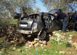 اصابة 4 مواطنين بانقلاب مركبة في سلفيت
