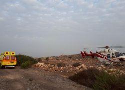 إصابة 3 مواطنين بحادث سير جنوب جنين ونقل المصابين بطائرة إسرائيلية