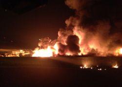 حريق ضخم بمصانع جاشوري غرب طولكرم