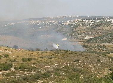 حريق كبير في في مستوطنة سلعيت جنوب طولكرم - شاهد الصور