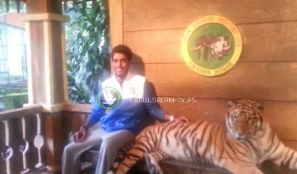 اراد ان يتصور مع نمر .. فشاهد ماذا حصل له بالفيديو