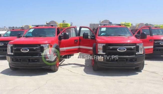 الدفاع المدني الفلسطيني يستلم ست مركبات انقاذ ومعدات جديدة