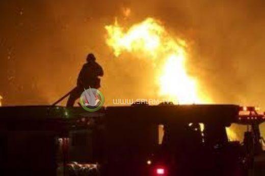 حريق هائل بباص يقل جنوداً اسرائيليين بالضفه