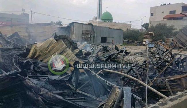 """1.5 مليون شيقل خسائر حريق سوق الخضار في """"حسبة"""" بيتا جنوب نابلس"""