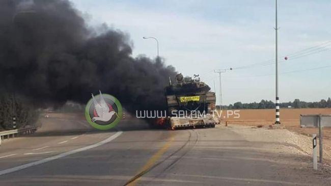 احتراق آلية عسكرية إسرائيلية شرق مخيم البريج