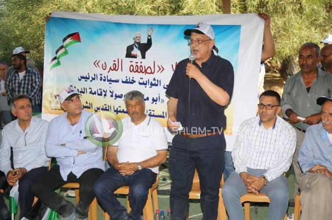 وفد من محافظة طولكرم يعبر عن تضامنه مع أهلنا في الخان الأحمر